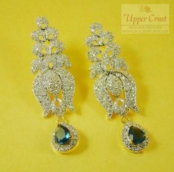 CZ Blue Drop Dangler Earrings