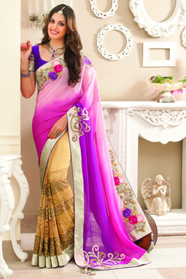 Gold Georgette, Pure Silk, Lace & Sequiens combo saree in Sequiens work-SR6040