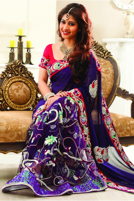 Purple Georgette & Netcombo zari & stone worked saree in purpe pallu-SR6044
