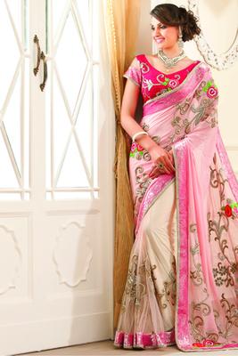 Light pink georgette zari worked saree in pink sequiens border-SR6050