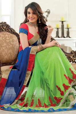 Parrot green Georgette & Net combo thread & zari worked saree-SR6055