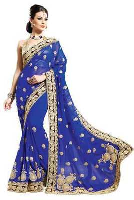 Royal blue georgette zari worked saree in brown velvet border-SR6061