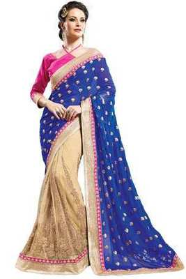 Beige Georgette & Net combo zari worked saree in royal blue pallu -SR6067