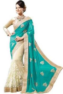 Cream Georgette & Net combo zari worked saree in turquoise blue pallu-SR6068