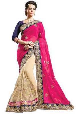 Beige georgette zari worked saree in pink zari worked border-SR6073
