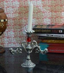 Buy Decorative White Metal Candle Stand with Red Crystal candle online