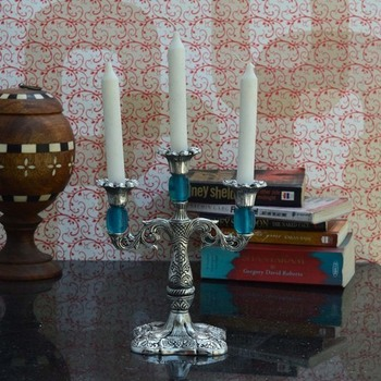 Decorative Sky Blue Candle stand