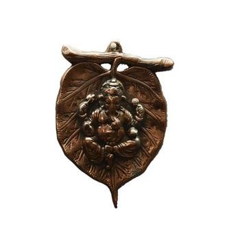 Metal wall hanging of Lord Ganesha on Leaf