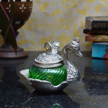 Green Crystal Mouth Freshner Container with 1 Spoon