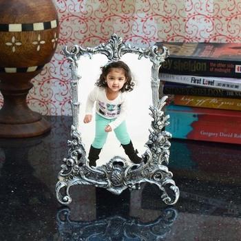 Antique Finish White Metal Rectangular Photo Frame