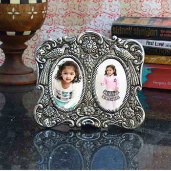Antique Finish White Metal Round Photo Frame for 2 Photos