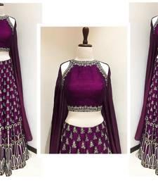 Buy Violet embroidered art silk unstitched lehenga with dupatta lehenga online