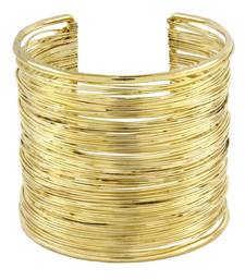 Party Statement Mesh Imported 18K Gold Free Size Cuff Kada Bangle Bracelet For Girls Women