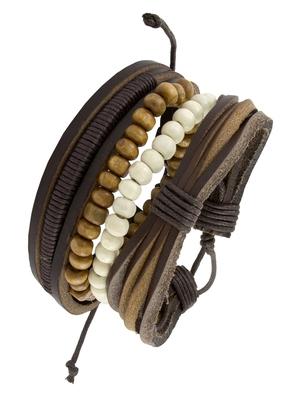Vintage Biker Multi Strand Brown Bead 100% Genuine Leather Free Size Wrist Band Strap Bracelet Boys Men