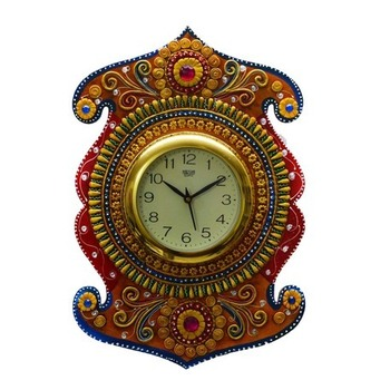 Kundan Studded Wall Clock