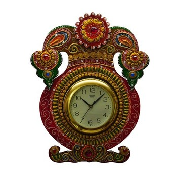 Kundan Studded Wall Clock with Kalash Design
