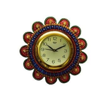 Papier-Mache Round Wall Clock