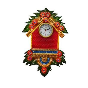Papier-Mache Wall Clock Hut Design