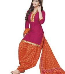 Buy Pink printed crepe salwar with dupatta punjabi-suit online