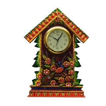 Papier-Mache Wall Clock Floral Hut Design