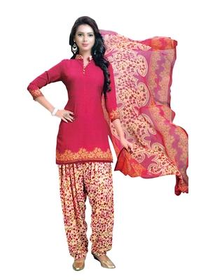 Pink printed crepe salwar with dupatta