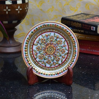 Bold Floral Marble Decorative Plate with Wooden Stand
