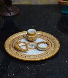 Buy Golden Marble Pooja Thali with Swastik home-decor online