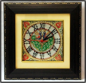 Garnished Peocock Design Marble Wall Clock with LED and Wooden Frame
