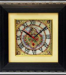 Buy Decorative Jewelled Wall Clock with LED and Wooden Frame wall-clock online