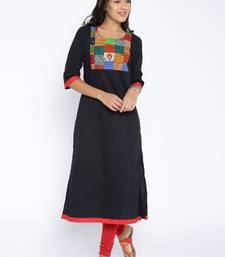 Black printed cotton stitched kurtas and kurtis