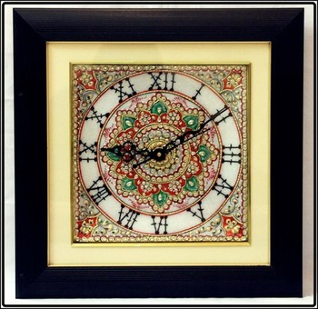 Faux Stone Studded Marble Wall Clock with LED and Wooden Frame
