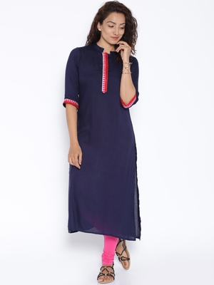 Navy blue  printed cotton stitched kurtas and kurtis