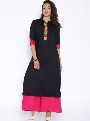 Black printed cotton stitched kurtas and kurtis