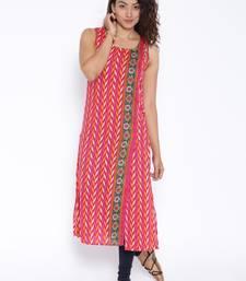 Rani pink printed cotton stitched kurtas and kurtis