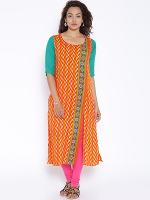 Orange  printed cotton stitched kurtas and kurtis