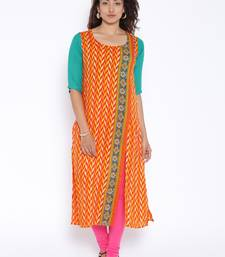 Orange  printed cotton stitched kurtas and kurtis