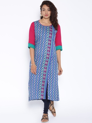 Blue printed cotton stitched kurtas and kurtis