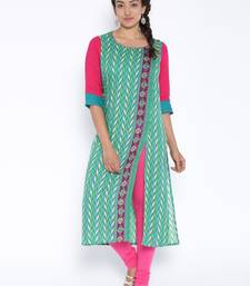 green printed cotton stitched kurtas and kurtis