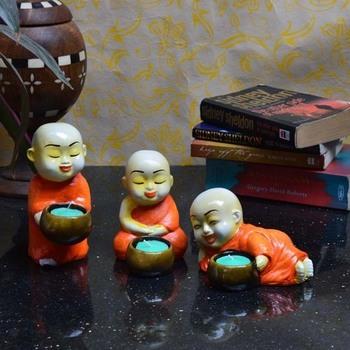 Set of 3 Monks Candle Holder - Orange