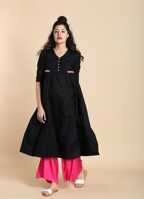Black printed cotton kurtas and kurtis