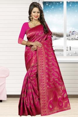Dark pink woven kanchipuram silk saree with blouse