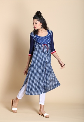 Indigo printed cotton kurtas-and-kurtis