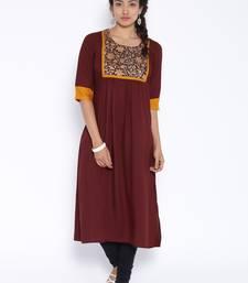 Buy Brown printed cotton kurtas-and-kurtis kurtas-and-kurtis online
