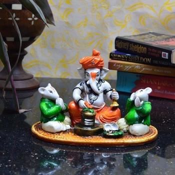 Lord Ganesha performing Shiva Pooja with 2 Rats