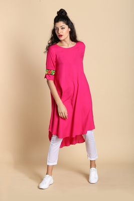 Pink printed cotton kurtas and kurtis