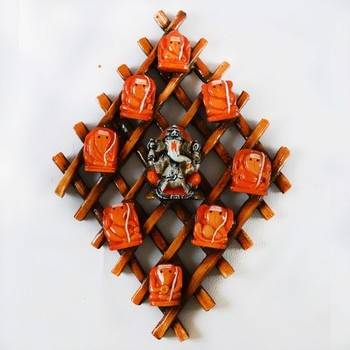 Wooden Wall hanging with 9 variants of Lord Ganesha
