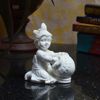 Pure White Statue of Laddu Gopal having Makhan