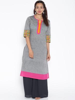 Grey woven cotton kurtas and kurtis