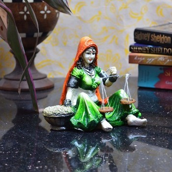 Rajasthani Lady Statue with Weighing Scale