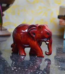 Buy Wooden Brownish Red Elephant home-decor online